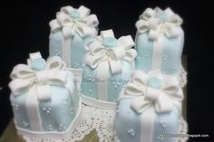 Baby Blue Square mini wedding cakes with ribbon www.finditforweddings.com