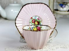 EB Foley Teacup, Dainty Pink Ribbed English Cup and Saucer, Antique Bone China 12542