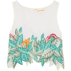 Mara Hoffman Cropped embroidered voile top (4,745 MXN) ❤ liked on Polyvore featuring tops, white, multi color tops, white embroidered top, white crop top, embroidery top and crop top