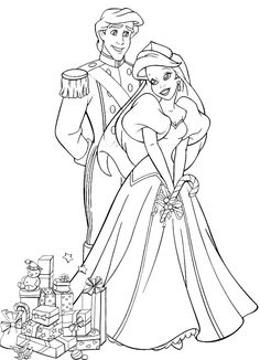free princess coloring pages to print | ARIEL THE LITTLE MERMAID AND PHILIP AT CHRISTMAS - COLORING