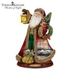 Thomas Kinkade Santa Claus Christmas Sculpture: Deck The Halls by The Bradford Exchange