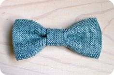 Vintage Teal Linen Bowtie Infant Toddler Newborn by NBrynnDesign