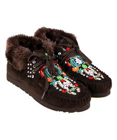 Look what I found on #zulily! Coffee Floral Embroidery Faux-Fur Lined Moccasin #zulilyfinds