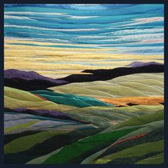 The twin imaginations of fiber artists Lisa and Lori Lubbesmeyer explore their time on the range and reflect on today. Landscape Art Quilts, Abstract Landscape Painting, Landscape Paintings, Abstract Portrait, Portrait Paintings, Acrylic Paintings, Art Paintings, Abstract Art, Fiber Art Quilts