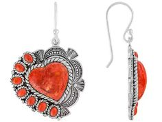 Southwest Style By Jtv(Tm) Cabochon Heart Shape And Oval Red Sponge Coral Sterling Silver Earrings