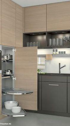 Easy access shelves in corner cabinet