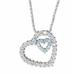 Sterling Silver Aquamarine & Clear CZ Floating Double Heart Necklace SilverSpeck.com. $19.99. Save 60%!