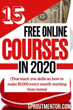 Want to start a work from home career? If yes, here are 15 best online courses that will teach you how to make money from home. Work From Home Companies, Work From Home Opportunities, Learning Websites, Educational Websites, Legit Work From Home, Work From Home Jobs, Earn Money From Home, How To Get Money, Free College Courses