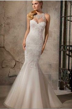 Trumpet/Mermaid Chapel Train High Neck Lace Fabric Bridal Wedding Dresses with Embroidery Style 5430195 #bridalweddingdresses #embroiderystyle5430195 See detail at http://zingxoom.com/d/cwHHJ8bl