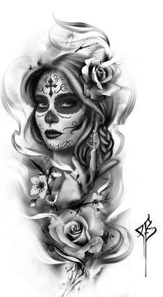 Tattoo designs foot, fairy tattoo designs, friend tattoos, all tattoos, body art Tattoo Girls, Girl Face Tattoo, Girl Tattoos, Tattoos For Guys, Friend Tattoos, Sugar Skull Mädchen, Sugar Skull Girl Tattoo, Sugar Skull Sleeve, Sugar Skull Design