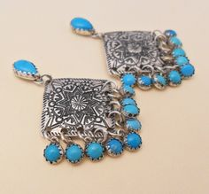 Hand Stamped Concho Earrings With Turquoise Accents. www.EagleDancerGallery.com