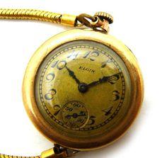 Elgin ELGINエルジン懐中時計K10手巻きアンティーク動作OK Watch Antique ¥29800yen 〆05月30日