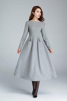 wool dress dress with pockets light grey dress winter dress designers dress handmade dress long dress womens dresses gift - Winter Dresses - Ideas of Winter Dresses Women's Dresses, Dress Outfits, Casual Dresses, Maternity Outfits, Dresses Online, A Line Dresses, Wrap Dresses, Sleeve Dresses, Evening Dresses