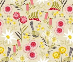 Wildflowers multi natural wallpaper by cjldesigns for sale on Spoonflower - custom wallpaper