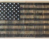Black and White Rustic wood american flag