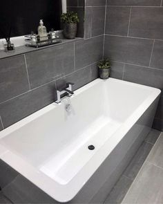 Wall And Tub Surround Bathroom Grey Tile Design Idea