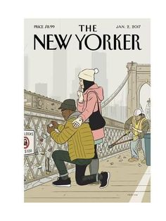 Premium Giclee Print: The New Yorker Cover - January 2017 by Adrian Tomine : The New Yorker, New Yorker Covers, Print Magazine, Magazine Art, Capas New Yorker, Color Concept, Magazin Covers, Love Lock, Ligne Claire