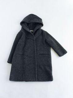 evam eva - pile sheep wool hooded coat