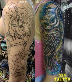 cobertura de tatuagem, cover up feita, @jayjaytattoo ,  owl tattoo, coruruja tattoo