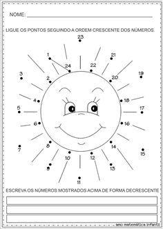 Matemática Infantil: Ordem Crescente e Decrescente Liga Pontos Atividades
