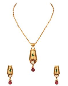 Gold Plated Chain Pendant Set With Striking Look, Studded With Kundans