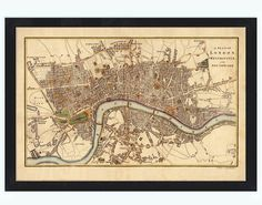 Old Map of London, England United Kingdom 1807    This is a reprodution of an highly detailed map. The Map is approximately 16,0 x 24,0 inches.