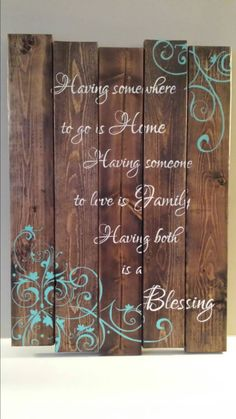 Reclaimed wood wall art Family quote sign by TinHatDesigns