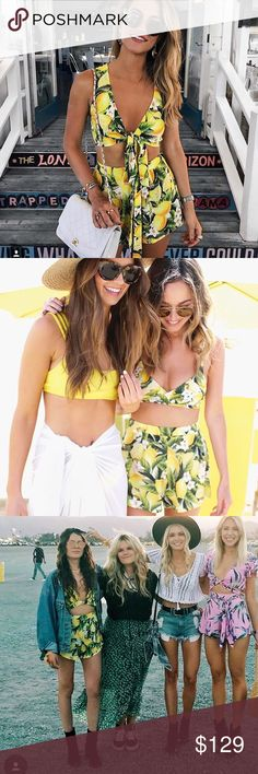 Show Me Your MuMu Citrus Set Selling as a set. Featuring the Citrus Stretch Martine Shorts and Rider Wrap Bra Bikini Top. Both in size XS Show Me Your MuMu Shorts