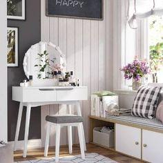 Arinze Vanity Set with Mirror Vanity Set With Lights, Vanity Set With Mirror, Wall Mounted Vanity, Bedroom Makeup Vanity, Vanity Table Set, Vanity Desk, Table Desk, Wooden Vanity, Contemporary Vanity