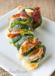 Low Carb and Gluten Free Cheesy Zucchini Hasselback with Bacon