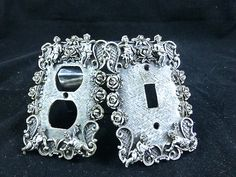 2 Vintage Metal Light Switch Plates by Florenta of by AZCindy