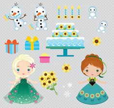 Frozen Fever Inspired Birthday Party Clipart Set por araqua