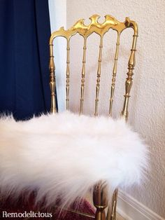 """Dining Room Brass Chiavari """"Bat-Chairs"""" Get a make-Over - Faux sheepskin fur seats   remodelicious"""