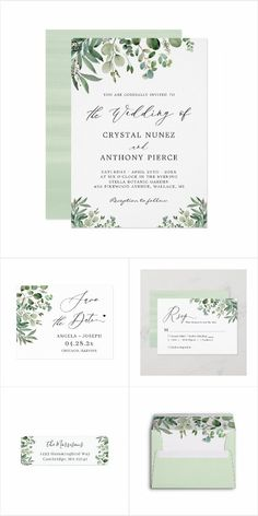 """Greenery Eucalyptus Leaves"" is one of the most popular invitation theme for Every Occasion!. We created amazing custom designs for this theme from Invitations to RSVP card, Information Card, Labels, Sign Posters and more. Spring Wedding Invitations, Wedding Invitation Design, Custom Invitations, Eucalyptus Leaves, Wedding Themes, Floral Wedding, Summer Wedding, Greenery, Place Card Holders"