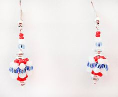 0857 - Seed bead earrings, seed bead jewelry, seed beads, red white blue, seed bead balls, patriotic earrings, Flag Day, Memorial Day by EarringsBraceletsEtc on Etsy