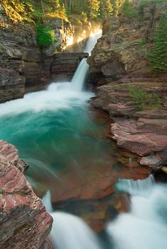Photo of St Mary Falls from the Continental Divide Trail in Glacier National Park, Montana. Exquisite, photographs by well known landscape photographer Andy Cook available for purchase and stock use. Oh The Places You'll Go, Places To Travel, Places To Visit, Travel Destinations, Glacier Park, Continental Divide, Adventure Is Out There, Landscape Photos, Landscape Photography