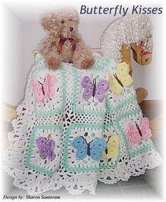 Baby Afghan Patterns: Butterfly Kisses baby afghan or blanket crochet pattern Crochet Afghans, Motifs Afghans, Baby Afghans, Baby Blankets, Free Crochet, Crochet Cow, Baby Afghan Crochet Patterns, Baby Blanket Crochet, Crochet Blankets