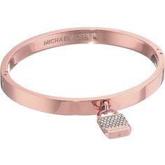 Michael Kors Logo Tone and Pave Padlock Hinged Bangle Bracelet (Rose... ($86) ❤ liked on Polyvore featuring jewelry, bracelets, bangle bracelet, bangle charms, michael kors jewelry, rose gold jewelry and michael kors charm