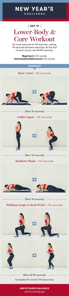 Lower-Body and Core Workout: New Year's Challenge – Day 19 2019 SELF New Year's Challenge – Day 19 – 30 Days Workout Challenge 30 Day Fitness, Fitness Motivation, Cleaning Workout, Bear Crawl, Psoas Muscle, Workout For Beginners, Get In Shape, Strength Training, At Home Workouts
