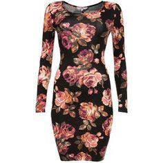 Black Rose Print Long Sleeve Bodycon Dress