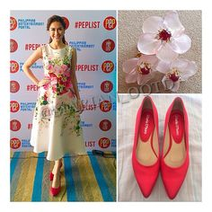 Lovely as ever @therealmarian. #OOTD PEP press conference: Carolina Herrera @houseofherrera floral print dress, #HansBrumann floral jewels and Mario D' Boro @mariodboroshoes red pointy pumps. #MarianRivera #MarianOOTD