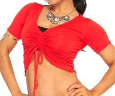 Stretchy Gathered Half Top - RED  http://www.bellydance.com/Stretchy-Gathered-Half-Top--RED_p_4031.html