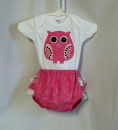 Owl Baby Clothes, Girl Owl Applique Onesie, Ruffle Diaper Cover, Pink Baby Gift Set, Spring and Summer Childrens Clothing via Etsy