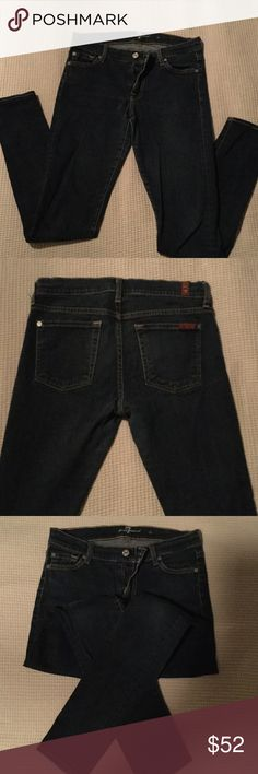 7 for all Man kind super skinny These jeans would have been great....had they fit. I have another pair of these in a different cut but same size and they fit perfect. These are a little tighter than comfortable for me. Just purchased from another posher at the price listed so wish to sell at the same because the jeans are great just not my size. 7 For All Mankind Jeans Skinny