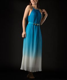 Take a look at this Turquoise Ombré Dress by Vasna on #zulily today!