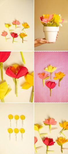 papierblumen lutscher muttertag geschenk basteln ideen