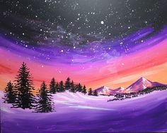 Browse our upcoming painting classes and events at Fort Collins Pinot's Palette! Reserve your seat for the best paint and sip experience today! Cool Paintings, Landscape Paintings, Landscape Drawings, Acrylic Painting Canvas, Canvas Art, Dream Painting, Purple Painting, Rainbow Painting, Winter Painting