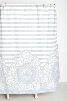 Plum & Bow Rose Stripe Shower Curtain less busy than purp one