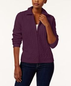 Alfred Dunner Petite Cable-Knit Cardigan - Purple PXL