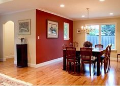 Like The Red Accent Wall, The Floor And The White Base Board Trim. Perfect  For Bringing The Red From The Livingroom Into The Kitchen And Diningroom.